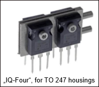 Application example of a liquid-cooled, highly compact MOSFET assembly for power electronics.